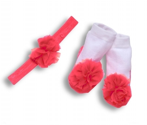 Tutu Collection Red Mary Jane Socks and Headband Set