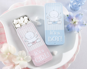 """It's a Boy"" & ""It's a Girl"" Slide Mint Tin Favors (Pink and Blue)"