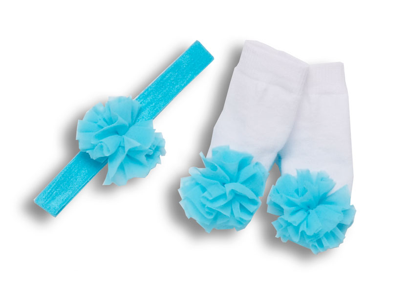 Tu-Tu Collection Aqua Mary Jane Socks and Headband with Pouf