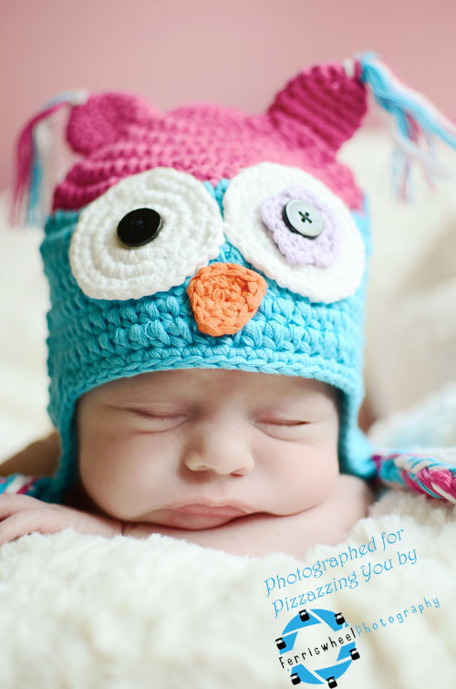 Hot Pink / Aqua Owl Hat