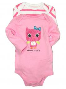 2 Pack of Long Sleeve Baby Girl Bodysuits with Owl Desgin by Baby Starters
