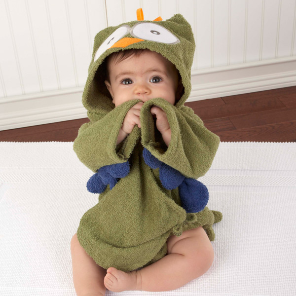 """My Little Night Owl"" Hooded Terry Spa Robe (Green)"