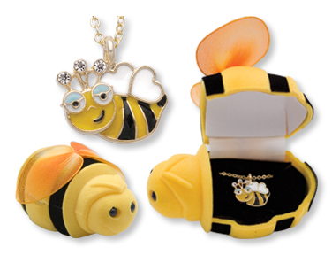Boxed Pendant  Bumble Bee Necklace
