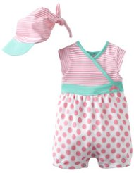 Offspring Girls Dot Romper & Hat