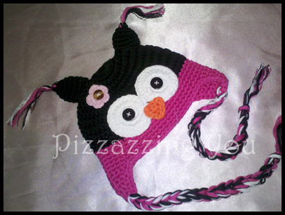 Hot Pink / Black Owl Hat