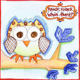 Knock Knock Whos There Owl Square