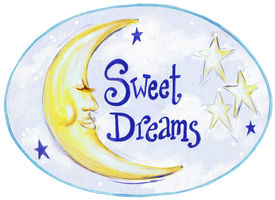 Sweet Dreams with Yellow Moon Oval