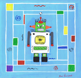Robot Man with Blue Background Square