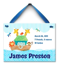 Noah's Ark - Boy- Birth Announcement Tile