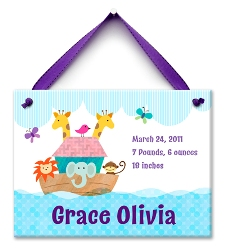 Noah's Ark - Girl- Birth Announcement Tile