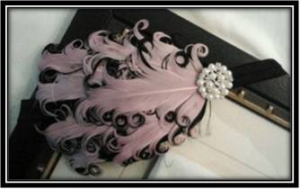 Light Pink and Black Feather Headband