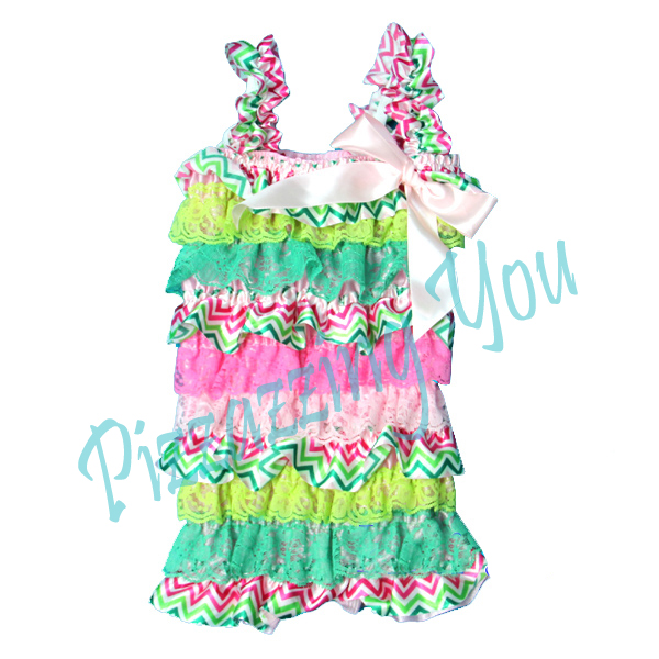 Pink, Green, Chevron Petti Romper