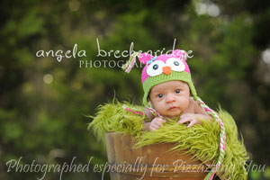 Hot Pink / Green Owl Hat