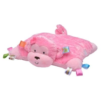 Taggies Pink Monkey Plush Pillow