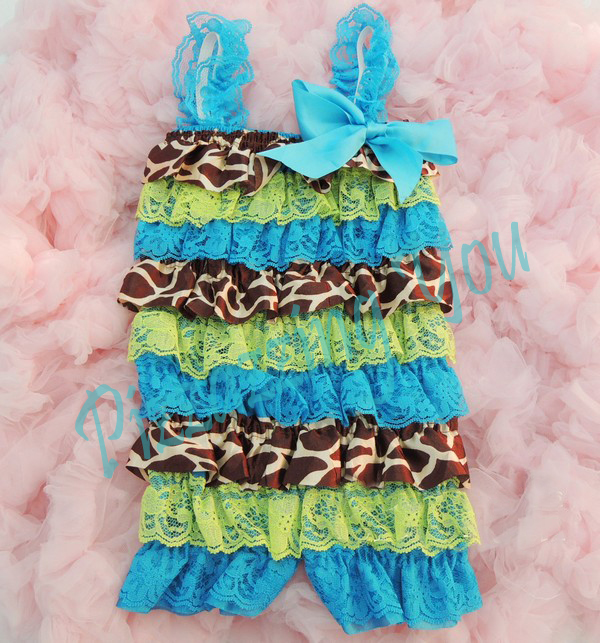 Turquoise, Lime Green and Giraffe Petti Romper