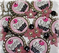 SET OF 6 Personalized Sweet as a Cupcake Bottle Cap Pendant Necklace Party Favors