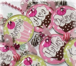 Set of 8 Personalized Cupcake Bezel Pendant Necklace Party Favors