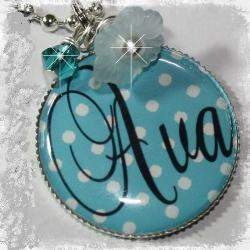 Personalized Blue and White Polka Dot Bezel Set Pendant Necklace