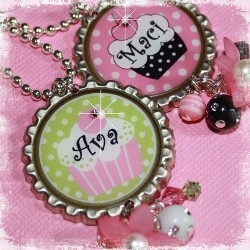 Sweet as a Cupcake PERSONALIZED Bottle Cap Pendant Necklace