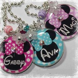 Personalized Minnie Mouse pendant bezel necklace