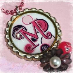 LOTS OF DOTS Pink and Black Custom Initial Bottle Cap Pendant Necklace