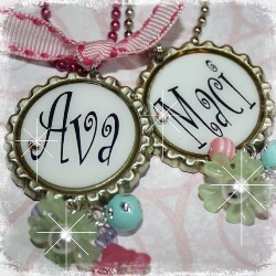 Colorful PERSONALIZED NAME Bottle Cap Pendant Necklace