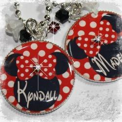 Personalized Minnie Inspired Polka Dot Bezel Pendant Necklace