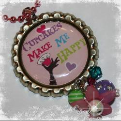 Cupcakes Make Me Happy Bottle Cap Pendant Necklace