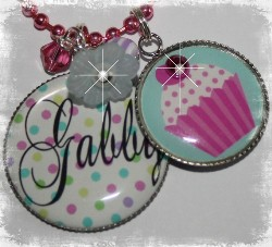 Personalized Polka Dot and Birthday Cupcake Necklace Set