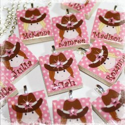 Set of 8 PERSONALIZED Cowgirl Scrabble Tile Pendant Necklace Party Favors