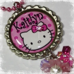 Magenta PERSONALIZED Kitty Inspired Bottle Cap Pendant Necklace