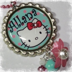 Aqua PERSONALIZED Kitty Inspired Bottle Cap Pendant Necklace