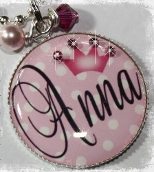 PERSONALIZED Princess Polka Dot Bezel Set Pendant Necklace