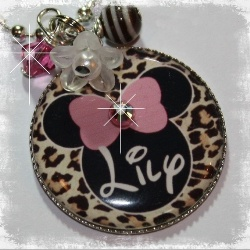 Personalized Minnie Mouse leopard pendant bezel necklace