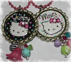 PERSONALIZED Kitty Inspired Bottle Cap Pendant Necklace U CHOOSE COLOR