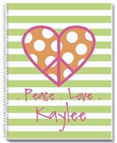 Peace and Love Personalized Noteboo