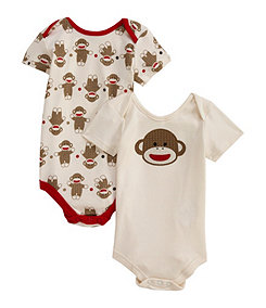 Baby Starters Red/Tan Sock Monkey Bodysuits 2-Pack