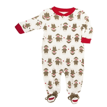 Baby Starters Red / Ivory Sock Monkey Footie